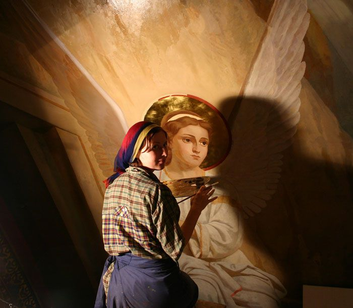 2006 - На реставрации росписей храма Успения Божьей матери