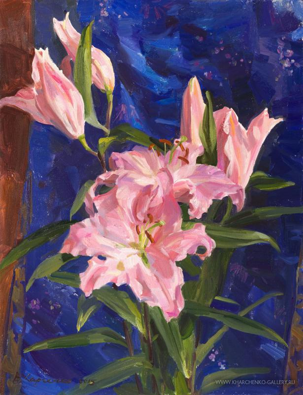 Pink lilies and Chinese silk