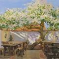 Breakfast near an old apple tree