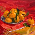 Tangerines on red